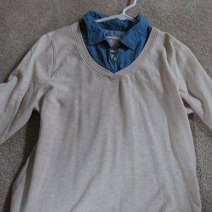 WOMEN'S TOP, - 2 SHIRT LOOK IN ONE- BLUE/CREAM